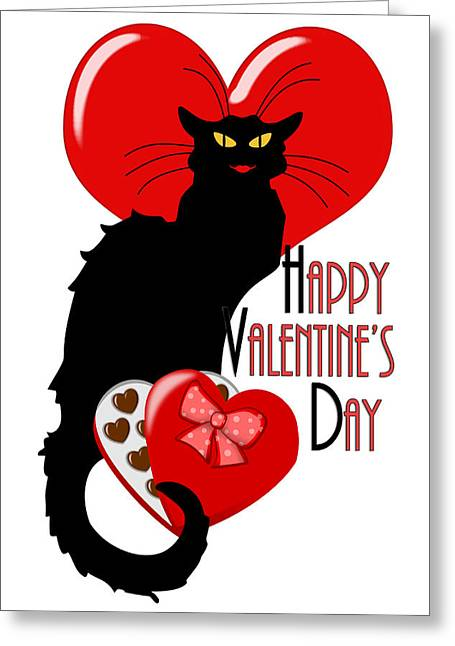 Le Cat Greeting Cards -  Happy Valentines Day Le Chat Noir Greeting Card by Gravityx9  Designs