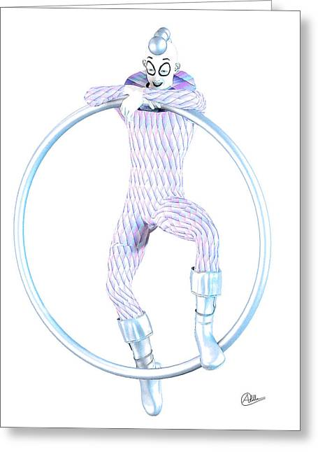 Tightrope Greeting Cards - The young Harlequin by Quim Abella Greeting Card by Joaquin Abella
