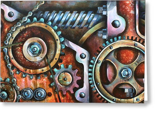 Industrial Gears Greeting Cards -  Harmony 8 Greeting Card by Michael Lang