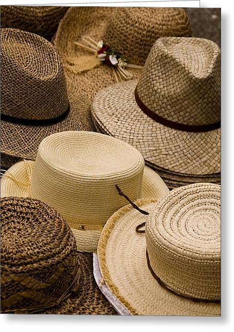 Fashion Photograph Greeting Cards -  Hats Capri Italy Greeting Card by Xavier Cardell