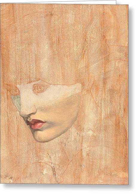 Nose Drawings Greeting Cards -  Head of Proserpine Greeting Card by Dante Charles Gabriel Rossetti