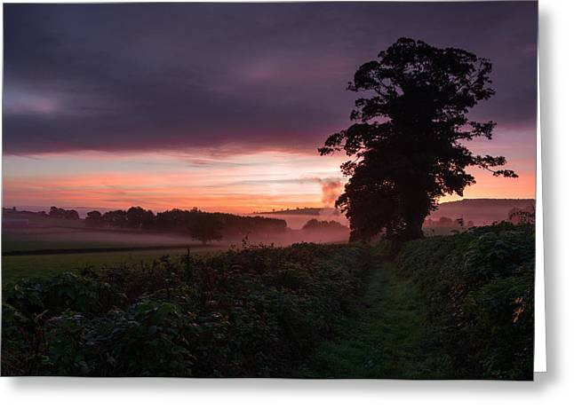 Culm Greeting Cards -  Hele Payne farm at dawn Greeting Card by Pete Hemington