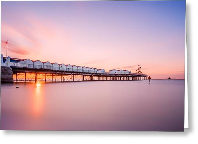 Neptune Greeting Cards -  Herne Bay Pier at Sunset Greeting Card by Ian Hufton