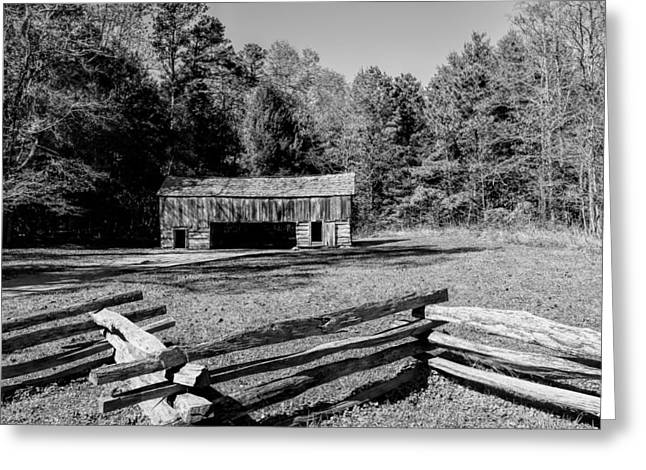 Smokey Mountain Drive Greeting Cards -  Historical Cantilever Barn at Cades Cove Tennessee in Black and White Greeting Card by Kathy Clark