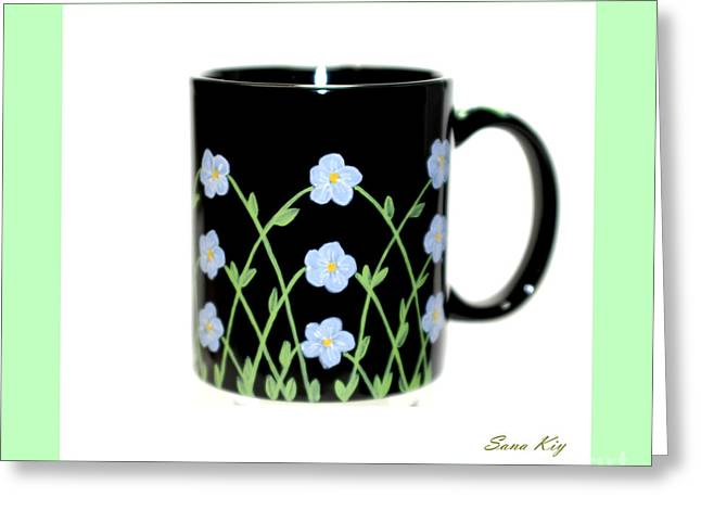 Collection Glass Art Greeting Cards -  Holiday Collection. Forget Me Not Greeting Card by Oksana Semenchenko