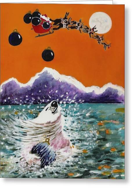 All Occasion Card  Greeting Cards -  Holiday Polar Bear Greeting Card by Joy Bradley