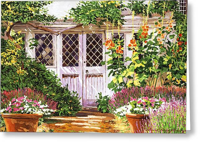 Old Doors Greeting Cards -  Hollyhock Gardens Greeting Card by David Lloyd Glover