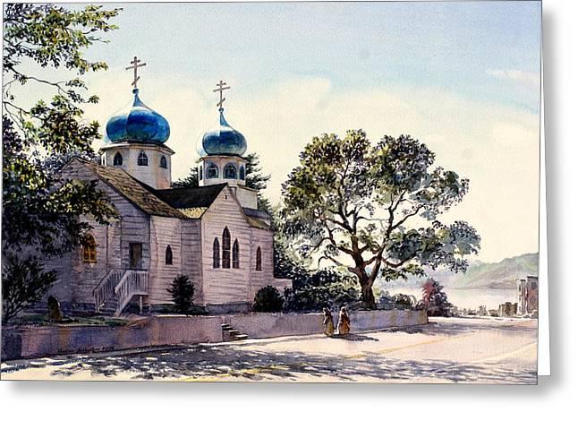 Holy Resurrection Cathedral Kodiak Greeting Card by Vladimir Zhikhartsev