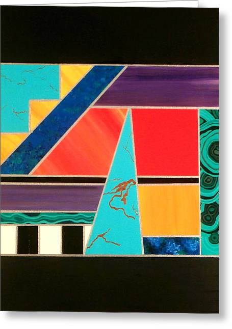 Silver Turquoise Greeting Cards -  Homage to Inlay #2 Greeting Card by Karyn Robinson