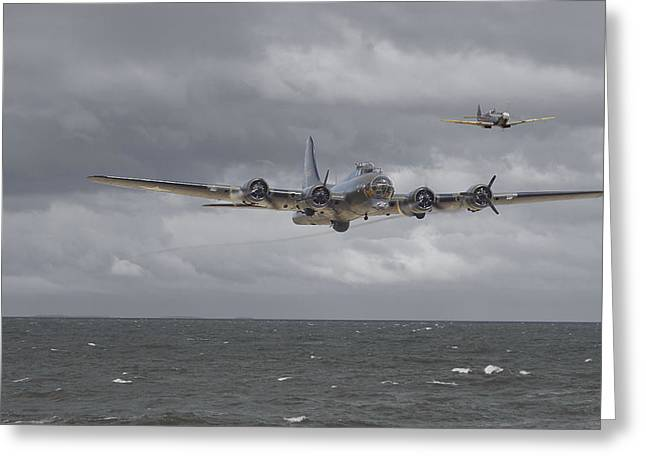 Spitfire Greeting Cards -  Home the Hard Way Greeting Card by Pat Speirs