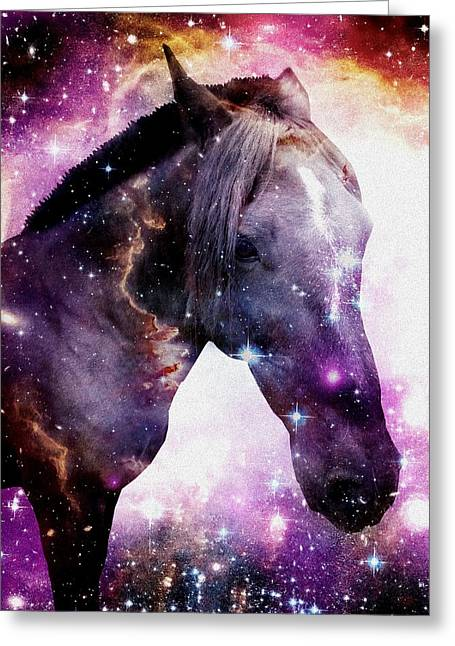 Magellanic Greeting Cards -  Horse in the Small Magellanic Cloud Greeting Card by Anastasiya Malakhova