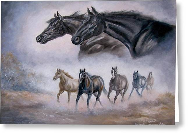 Horses Running Greeting Cards -  Horse Painting Distant Thunder Greeting Card by Gina Femrite