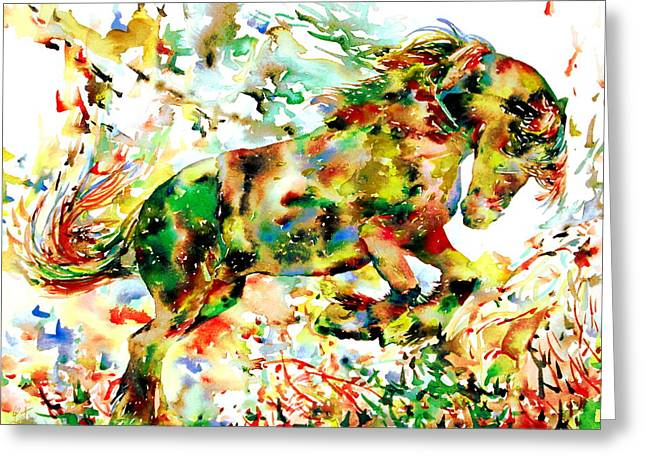 Rearing Up Greeting Cards -  Horse Painting.2 Greeting Card by Fabrizio Cassetta
