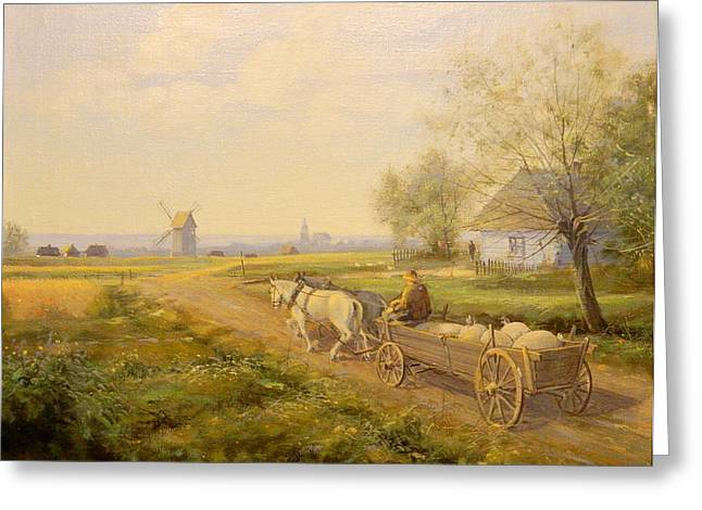 Horses and Wagon Greeting Card by Kazimierz Bac