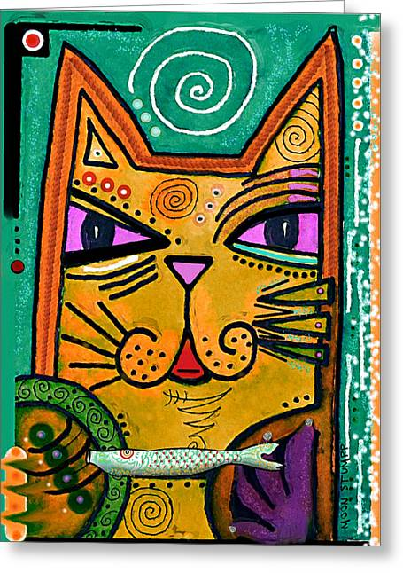 Nursery Mixed Media Greeting Cards -  House of Cats series - Fish Greeting Card by Moon Stumpp