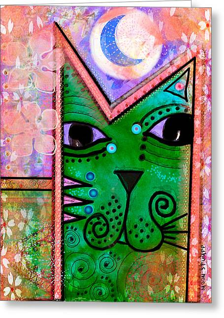 Imaginative Art Prints Greeting Cards -  House of Cats series - Moon Cat Greeting Card by Moon Stumpp