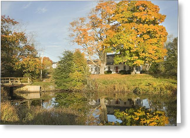 Home Front Greeting Cards -  House Reflection In Pond Bristol Maine Greeting Card by Keith Webber Jr