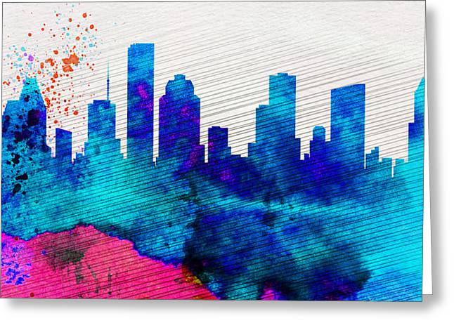 Architectural Paintings Greeting Cards -  Houston City Skyline Greeting Card by Naxart Studio