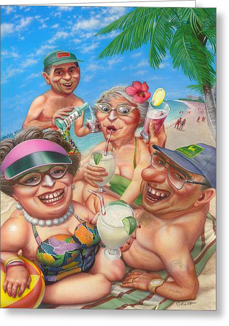 Blank Greeting Cards Greeting Cards -  Humorous Snowbirds On Vacation - Senior  Citizen Citizens - Beach - Illustration  Greeting Card by Walt Curlee