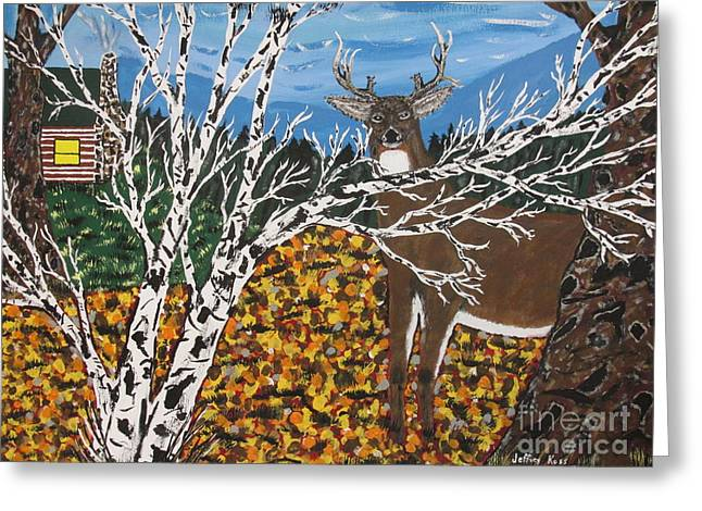 Deer Camp Greeting Cards -  Hunters Deer Camp Greeting Card by Jeffrey Koss