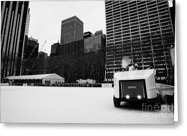 Ice Clearer Clearing The Ice At Bryant Park Ice Skating Rink New York City Greeting Card by Joe Fox