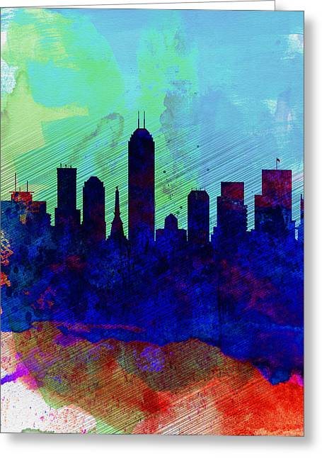 Downtown Digital Greeting Cards -  IIndianapolis Watercolor Skyline Greeting Card by Naxart Studio