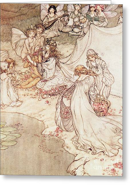 Fairies Drawings Greeting Cards -  Illustration for a Fairy Tale Fairy Queen Covering a Child with Blossom Greeting Card by Arthur Rackham