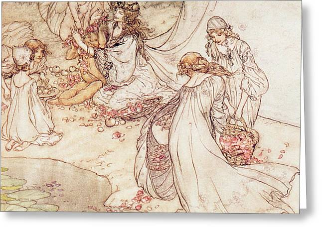 Illustration for a Fairy Tale Fairy Queen Covering a Child with Blossom Greeting Card by Arthur Rackham