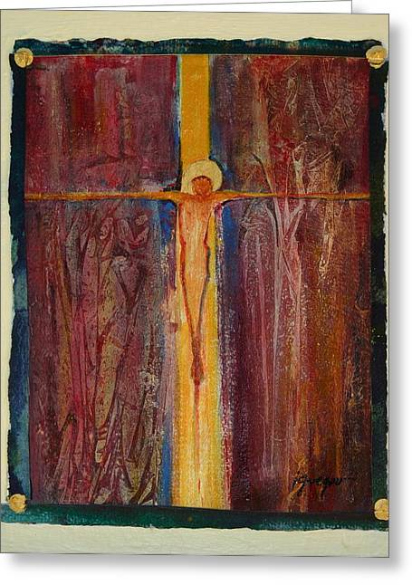 Crucifix Mixed Media Greeting Cards -   Greeting Card by Imelda Gregov