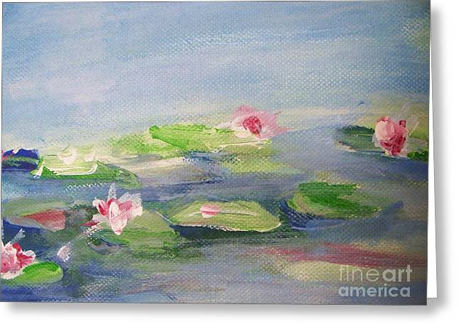 Impressionistic Lilies Monet Greeting Card by Eric  Schiabor