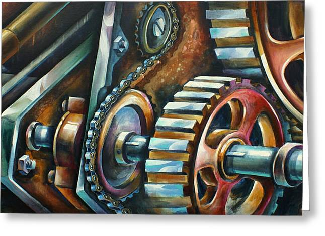 Gear Paintings Greeting Cards -  In Harmony  Greeting Card by Michael Lang