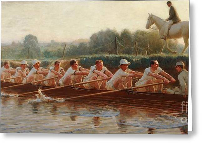 Rowers Paintings Greeting Cards -  In The Golden Days Greeting Card by Hugh Goldwin Riviere