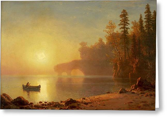 Canoe Waterfall Greeting Cards -  	Indian Canoe Greeting Card by Albert Bierstadt
