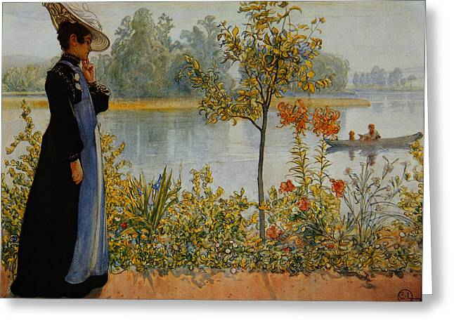 Lost In Thought Paintings Greeting Cards -  Indian Summer Greeting Card by Carl Larsson