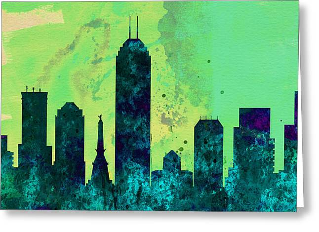 Horizon Paintings Greeting Cards -  Indianapolis City Skyline Greeting Card by Naxart Studio