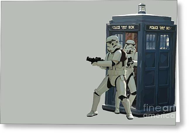 The Doctor Greeting Cards -  163. Inform Lord Vader we have the Tardis Greeting Card by Tam Hazlewood