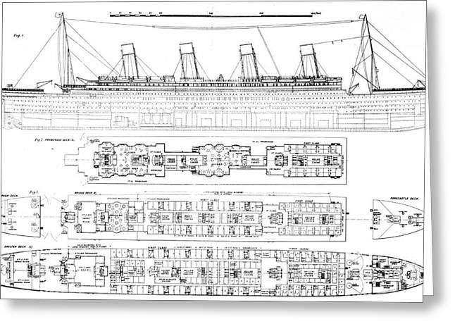 Seascape Drawings Greeting Cards -  Inquiry into the Loss of the Titanic Cross sections of the ship  Greeting Card by English School