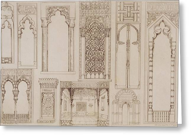 Arched Windows Greeting Cards -  Islamic and Moorish design for shutters and divans Greeting Card by Jean Francois Albanis de Beaumont