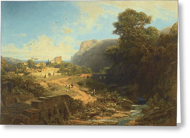 Italian Landscapes Drawings Greeting Cards -  Italian Landscape Greeting Card by Carl Spitzweg