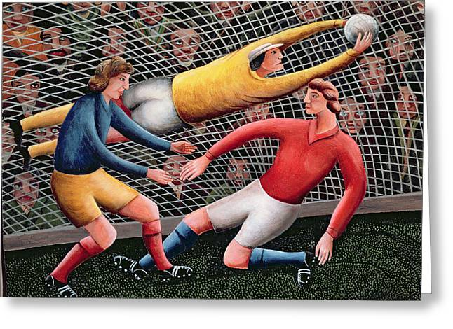 Goal Line Greeting Cards -  Its a Great Save Greeting Card by Jerzy Marek