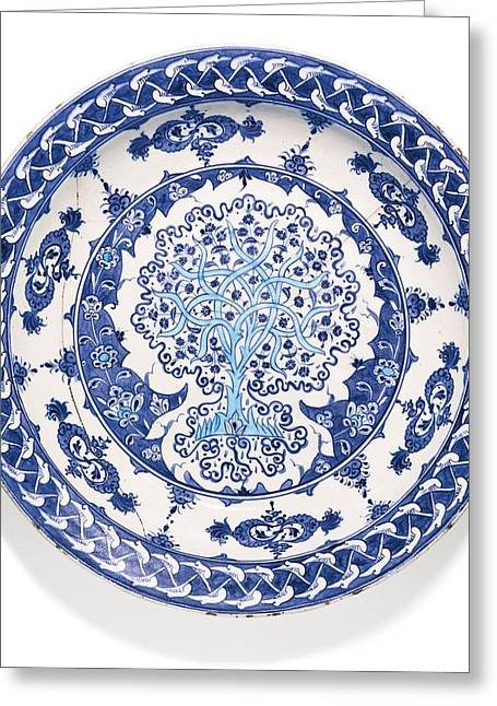 Iznik Blue And White Pottery Greeting Card by Celestial Images