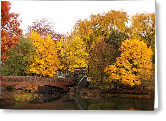 Japanese Gardens  Lake Sacajawea Park Greeting Card by Beverly Guilliams