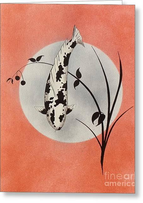 Sakana Greeting Cards -  Japanese Koi utsuri mono Ikebana red Greeting Card by Gordon Lavender