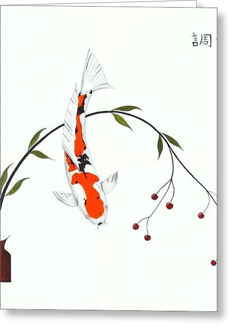 Kin Greeting Cards -  Japanese Koicha sanke Harmony  Greeting Card by Gordon Lavender