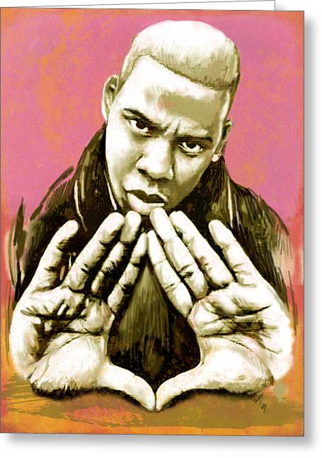 Carter Greeting Cards -  Jay-Z art sketch poster Greeting Card by Kim Wang