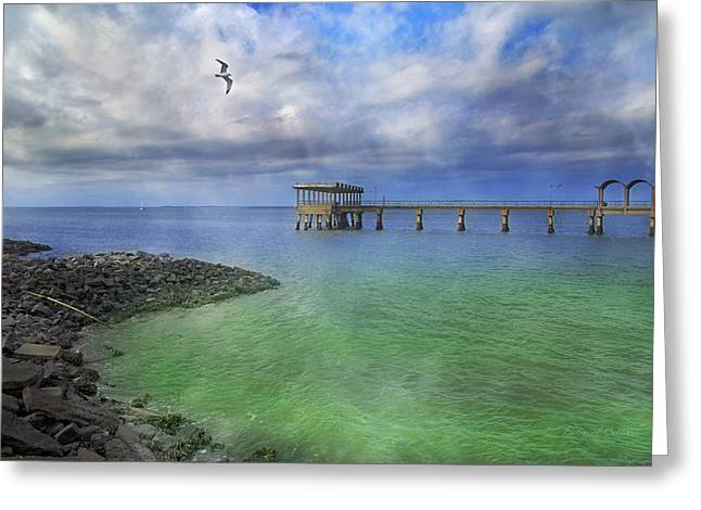 Jekyll Island Fishing Pier Greeting Card by Betsy C Knapp