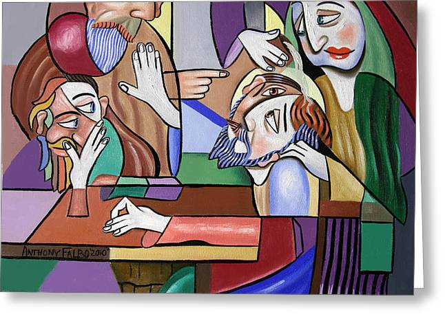 Jesus Anointed At Bethany Greeting Card by Anthony Falbo