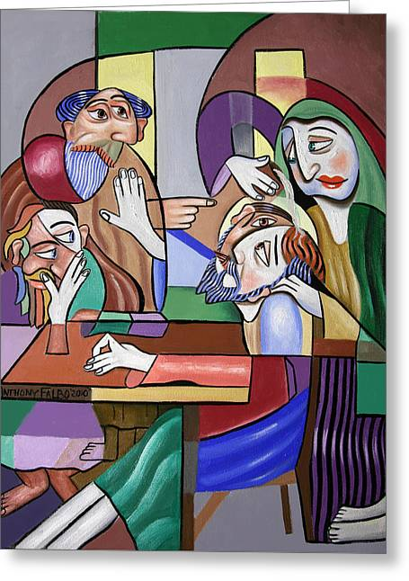 Art Jesus Framed Prints Greeting Cards -  Jesus Anointed At Bethany Greeting Card by Anthony Falbo
