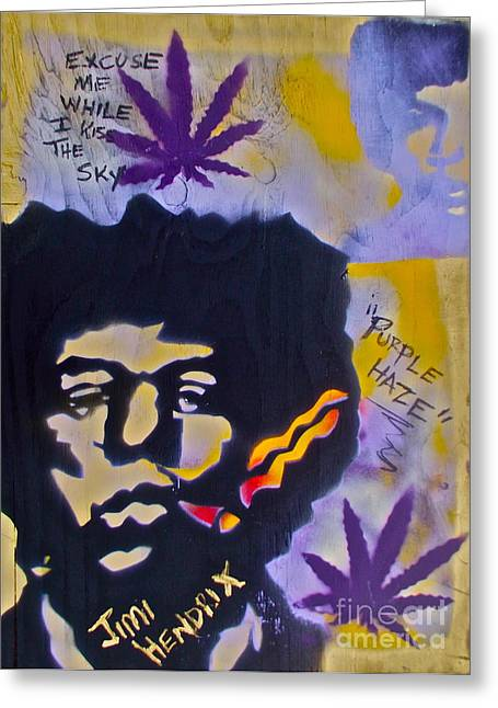 Cannibus Greeting Cards -  Jimi Hendrix Purple Hazing Greeting Card by Tony B Conscious