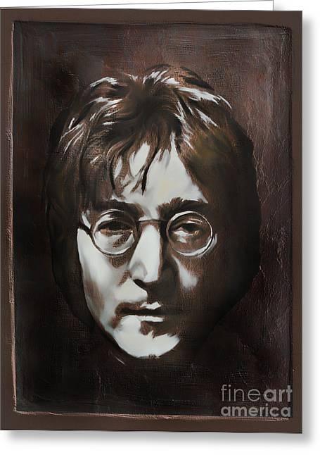 John Lennon Greeting Card by Andrzej Szczerski
